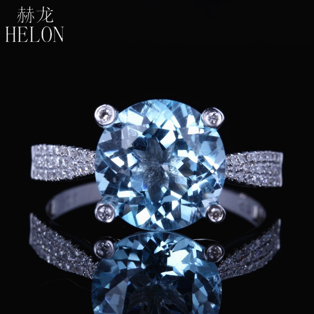 HELON Solid 10kt White Gold 10mm Round 3.5ct Brilliant Blue Topaz Engagment Ring Pave Natural Diamond Wedding Elegance Fine Ring helon sterling silver 925 flawless 11x9mm emerald cut 4 36ct real blue topaz natural diamond engagment wedding ring fine jewelry