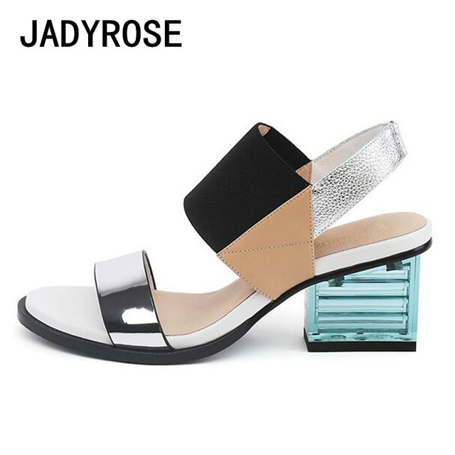 942fa71bad1f Women Gladiator Sandals Mixed Color Beach Summer Slippers Shoes Woman 6cm  Square Heels Sandalias Elastic Band Zapatos Mujer