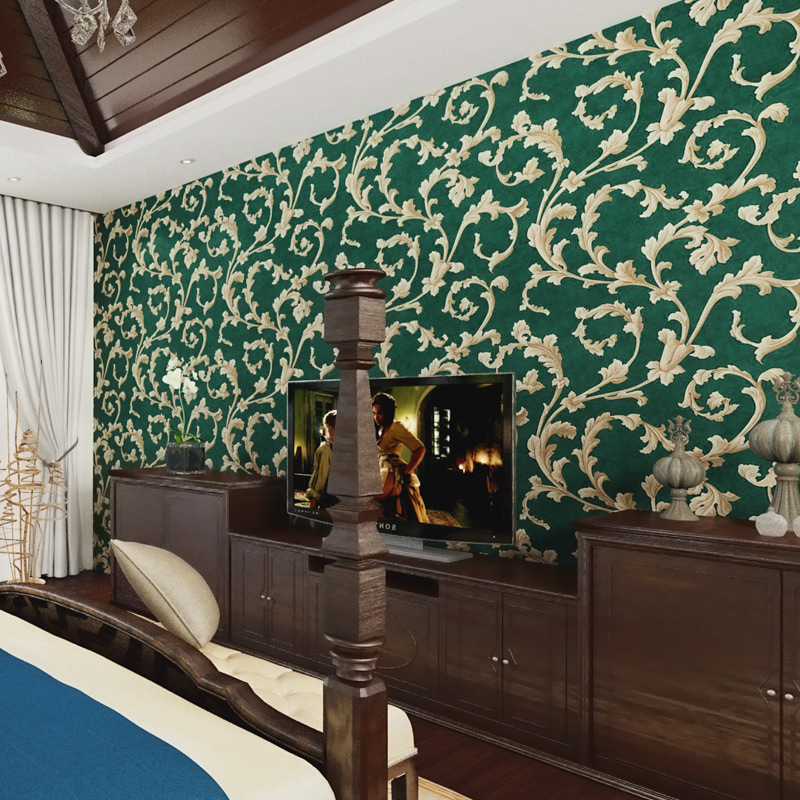 beibehang American Rural Non-woven Wallpaper Bedroom Living Room TV Emerald Green Background Wallpaper Retro Cottage Leaves