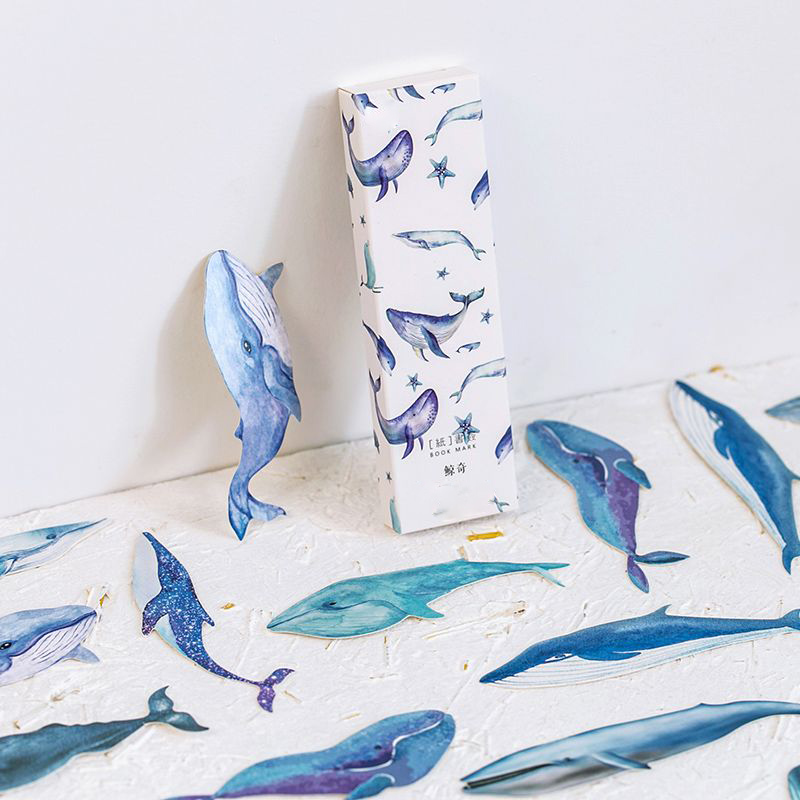 30pcs/box Whale Fish Paper Bookmark Stationery Bookmarks Book Holder Message Card School Supplies Message Card