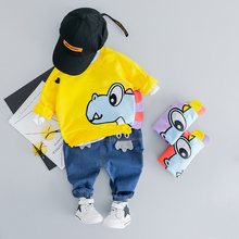 HYLKIDHUOSE Infant Clothes Suits 2019 Spring Baby Girls Boys Clothing Sets Cotton T Shirt Jeans 2 Piece Cartoon Kids Costume