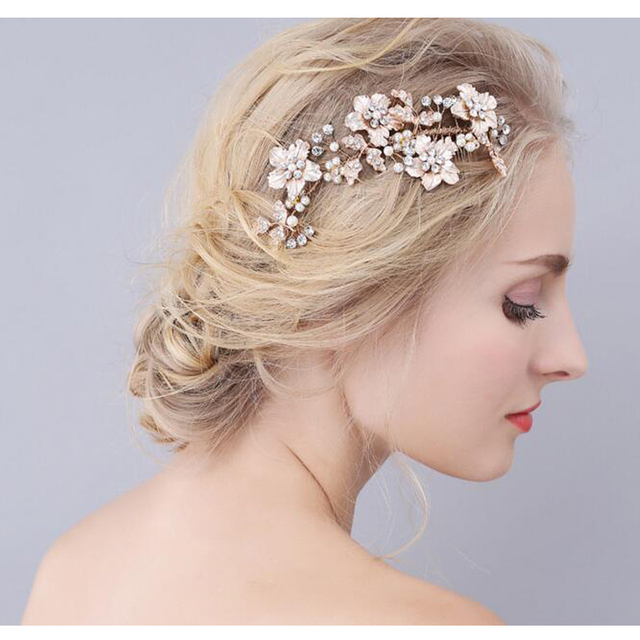 gold flower bridal hair comb luxury bridal headband handmade hair vine wholesale wedding hair combs hair