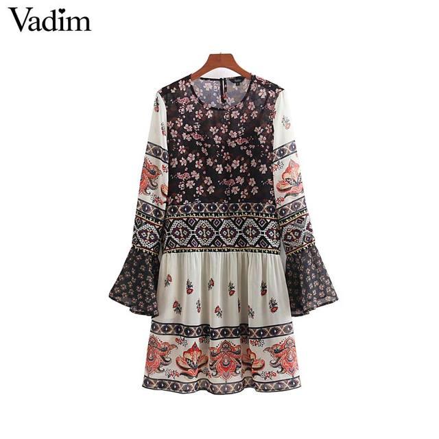 8af855b82 Vadim vintage floral bordado gasa vestido dos piezas set flare manga  plisada señoras casual chic vestidos