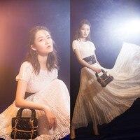 HANZANGL Newest 2019 Brand Women Dress Full Lace White Dress Sexy Casual Long Party Dresses