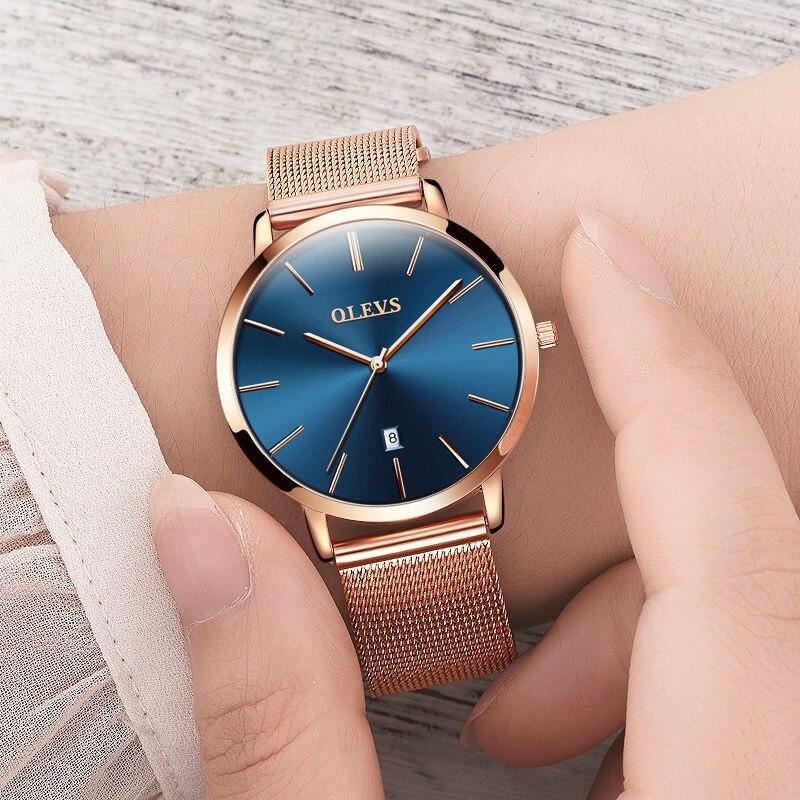 OLEVS Ultra Thin Man's Business Watches Male Clock Dress Quartz Ladies Watch Steel Mesh Strap Calendar Creative Men Wristwatches