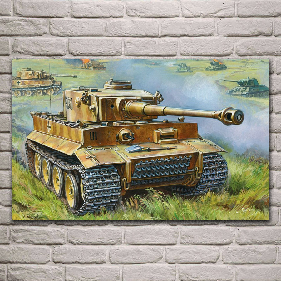 US $4 8 36% OFF|tank battle artwork VI Tiger I Ausf E T 34 Soviet heavy  tank living room home wall art decor wood frame fabric posters EX572-in