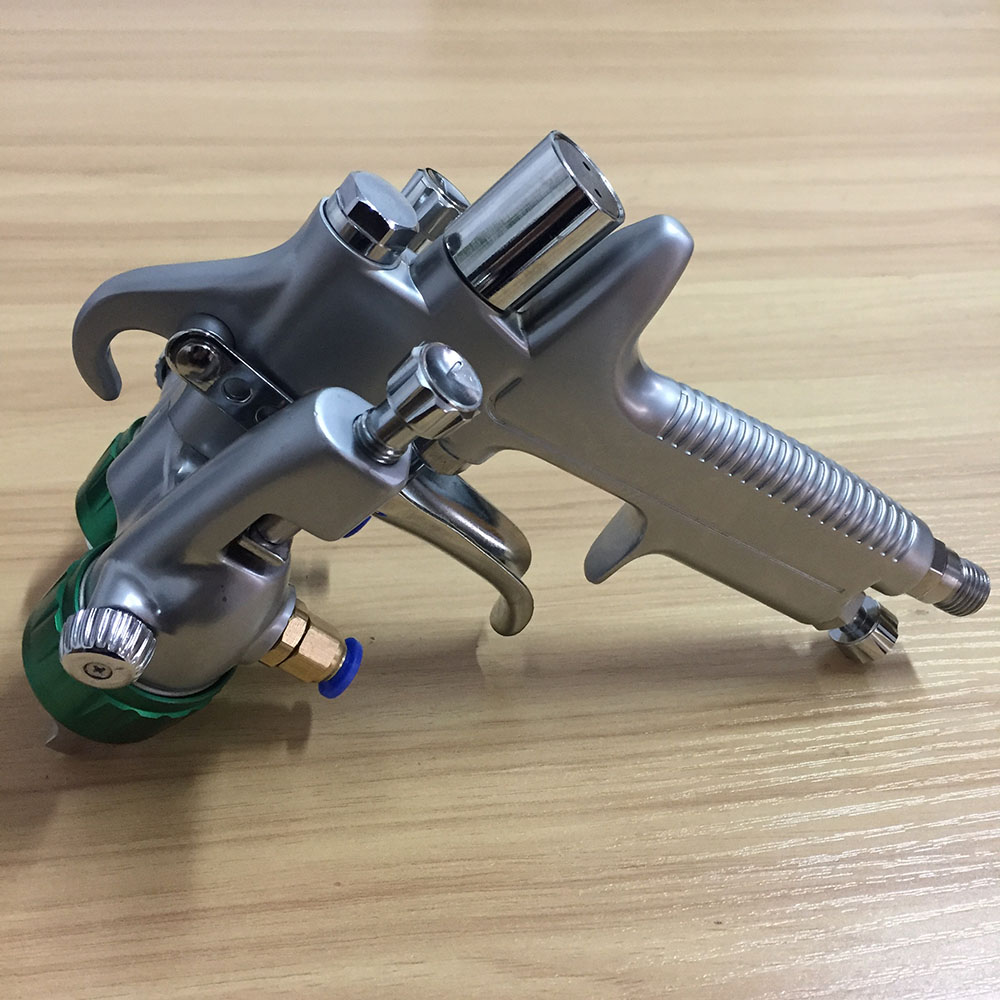 SAT1189 professional air paint double nozzle spray gun 1.3 stainless steel nozzle chrome paint high pressure pneumatic sprayer ключ rock force rf 765025