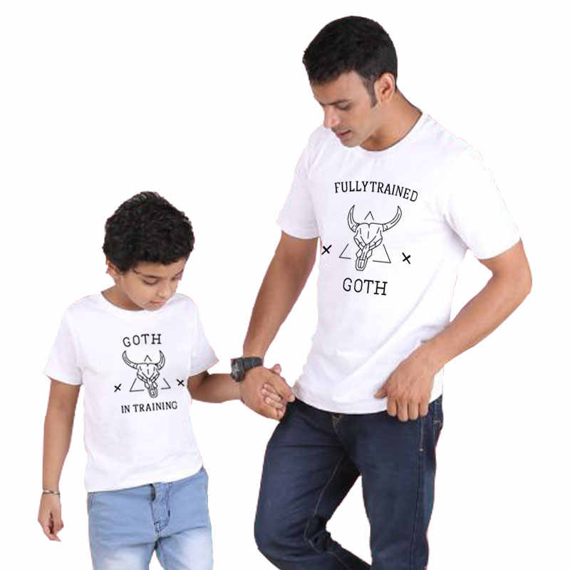 พ่อลูกชาย t เสื้อสำหรับครอบครัวสำหรับ daddy และ me ชุดดูพ่อเด็กทารกฤดูร้อนเสื้อผ้าเด็กเต็ม TRAINED GOTH
