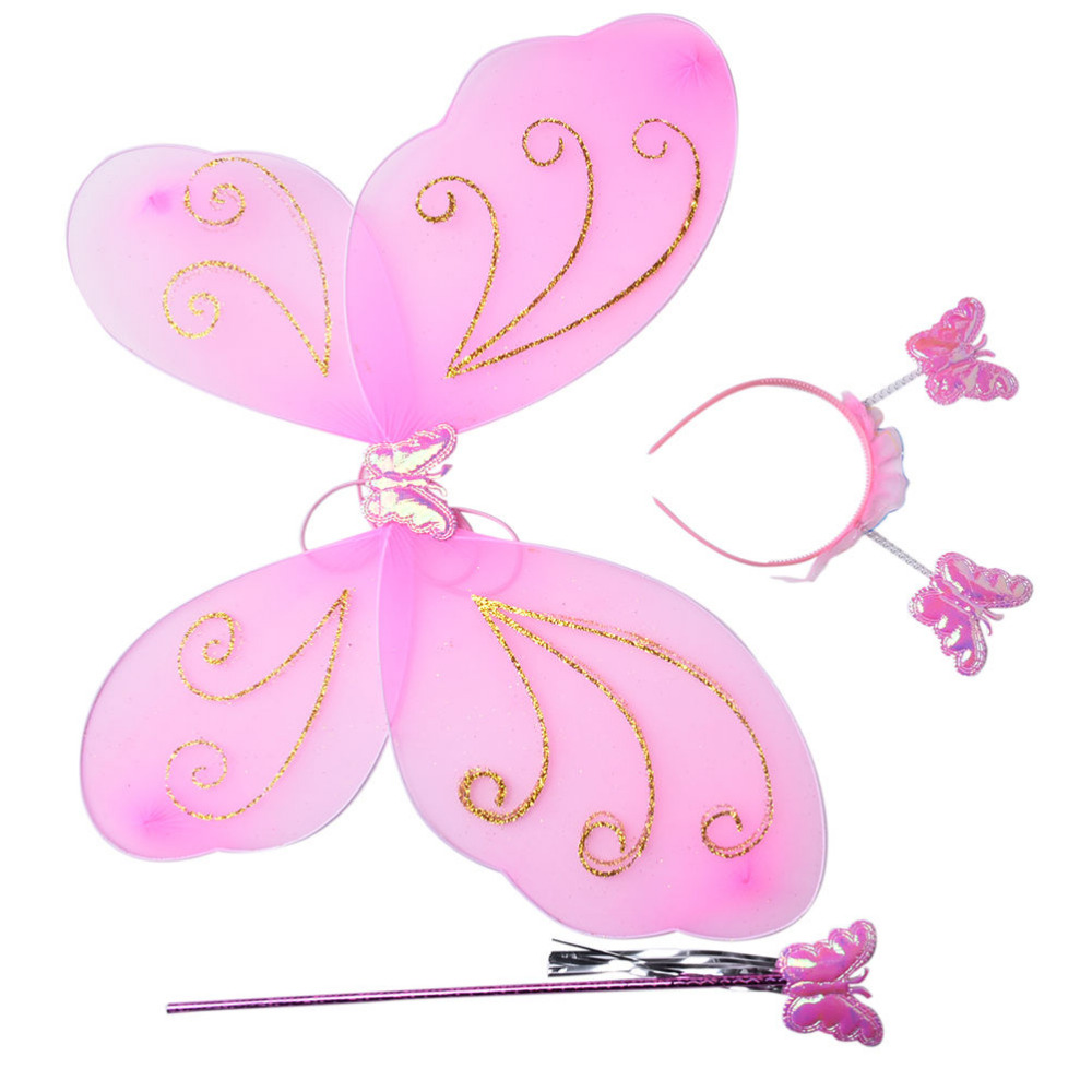 3Pcs Kids Girls Fairy Princess Costume Sets Colorful Stage Wear Butterfly Wings Wand Headband