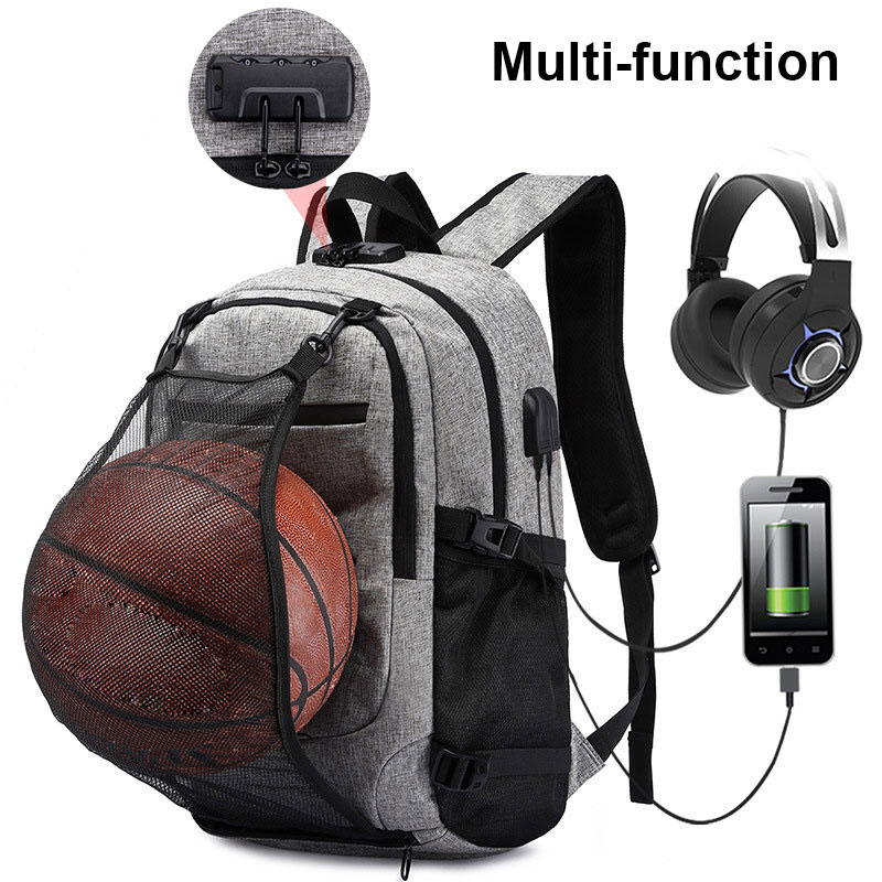 Basketball Ball Mesh bag Waterproof Laptop USB Headphone Jack Schoolbags Women Men Anti Theft Lock Bagpack Teenagers BackpackBasketball Ball Mesh bag Waterproof Laptop USB Headphone Jack Schoolbags Women Men Anti Theft Lock Bagpack Teenagers Backpack