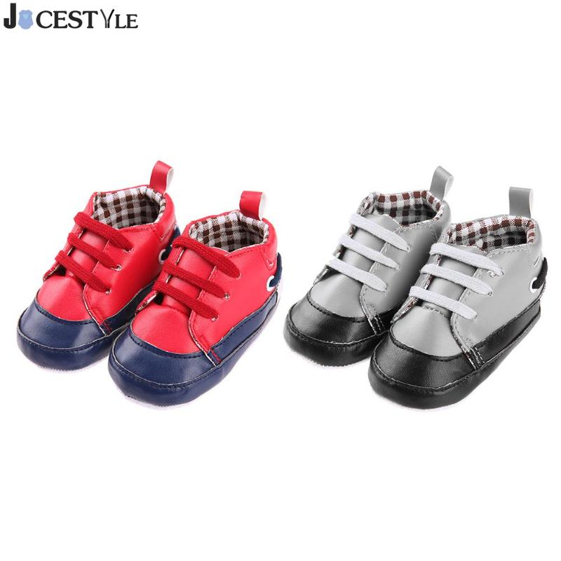 1Pair Boys Girls Baby Shoes Prewalker Infant Anti-Slip Sports Splicing Color Breathable PU Lace-Up Shoes Toddler First Walkers