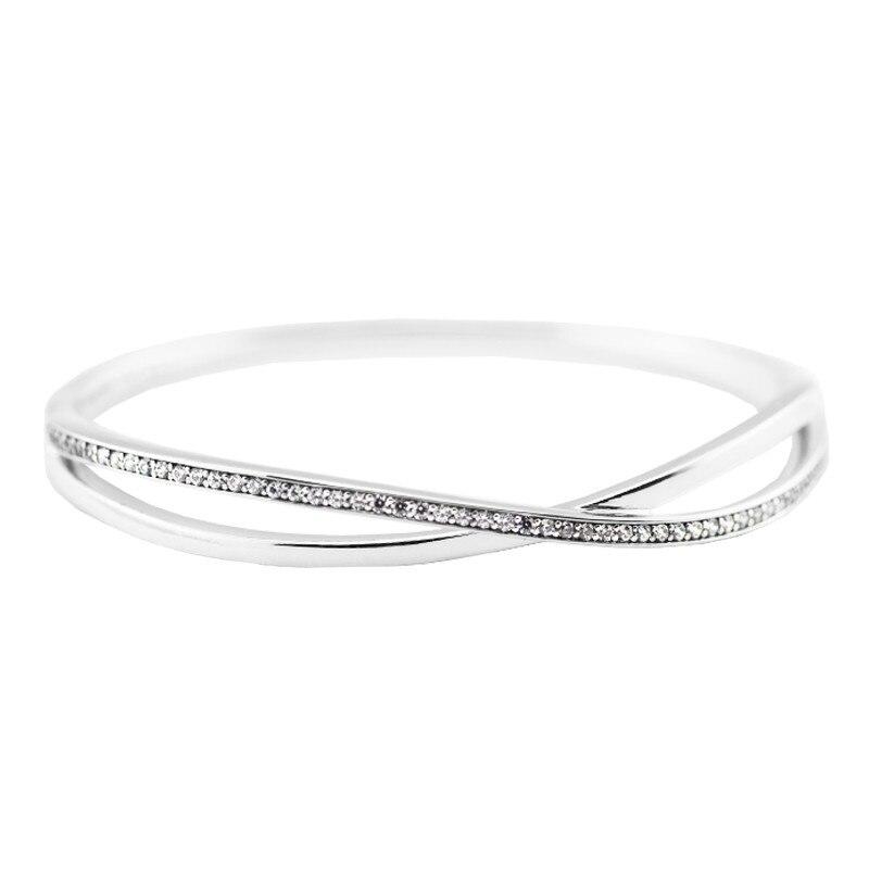 Bracelet en argent entrelacé avec CZ clair Original 925 bijoux en argent Sterling bracelets de mode bracelets pour femme bricolage bijoux à breloques