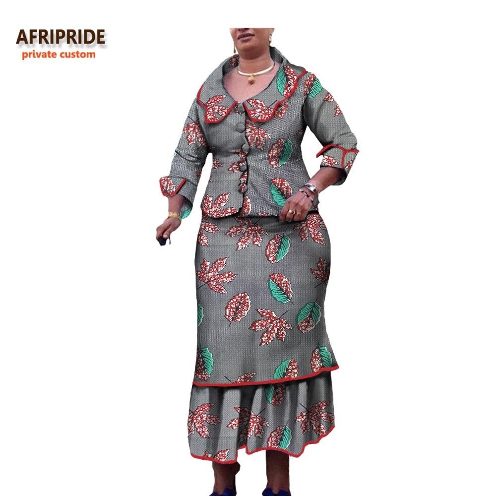 African Women Clothes 2018 Autumn 2 Pieces Suit Afrirpide Full
