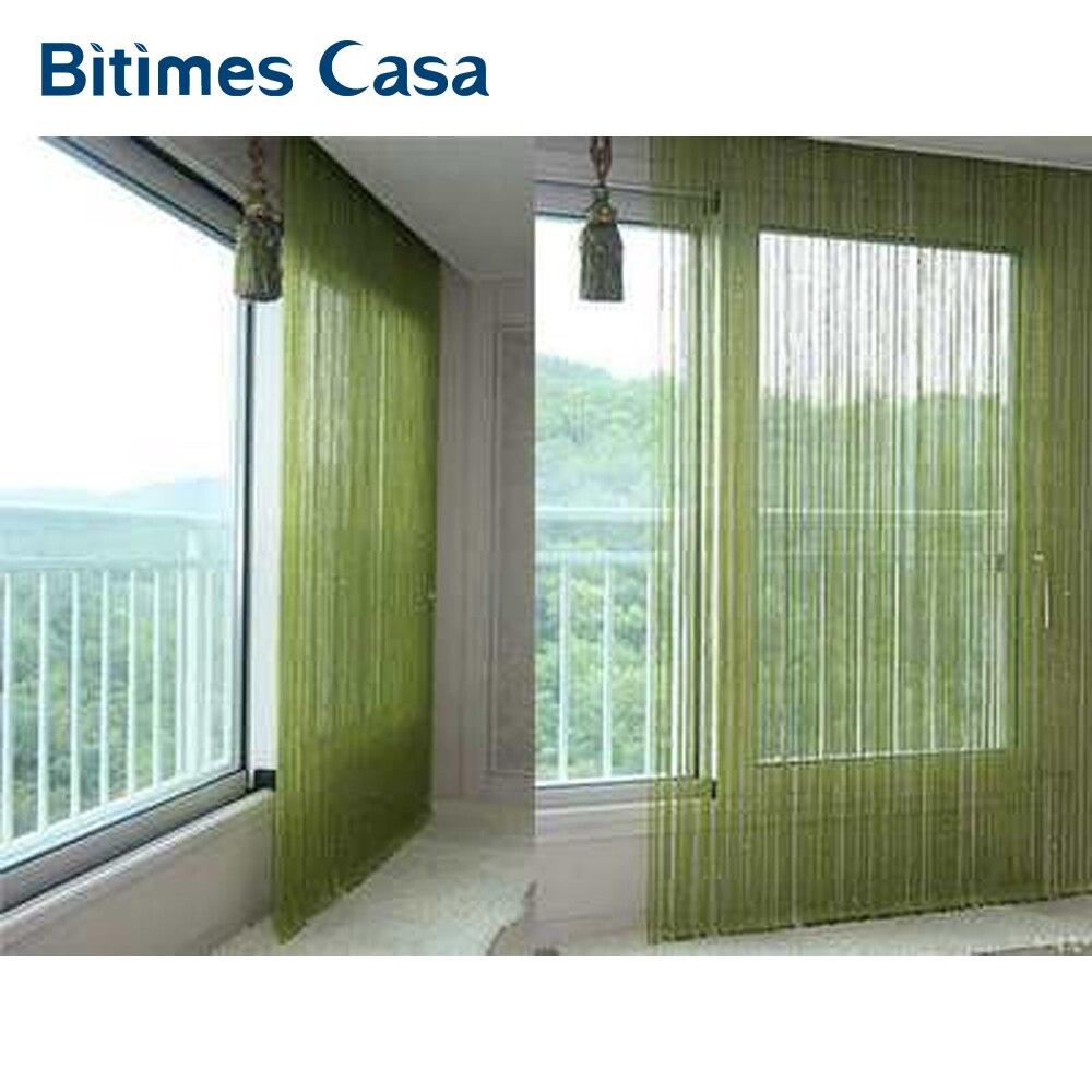 Color sólido cortina de la secuencia decorativa 300*300 cm negro blanco beige línea clásica cortina de ventana de ciego vanlance habitación divisor