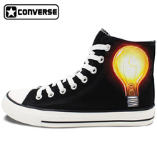 Custom Hand Painted Shoes Converse Match Electric Bulb Human Great Inventions HIgh Top Black Canvas Sneakers Gifts Men Women