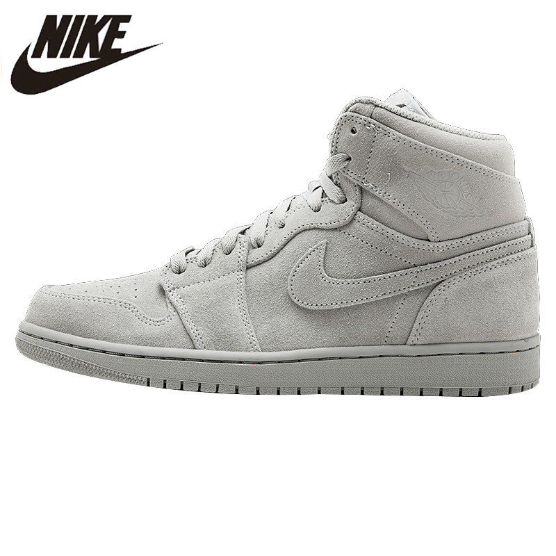 cheaper 5011a f28f2 NIKE AIR JORDAN 1 RETRO HIGH SUEDE AJ1 Suede Cool Gray Men s Basketball  Shoes Sneakers 332550