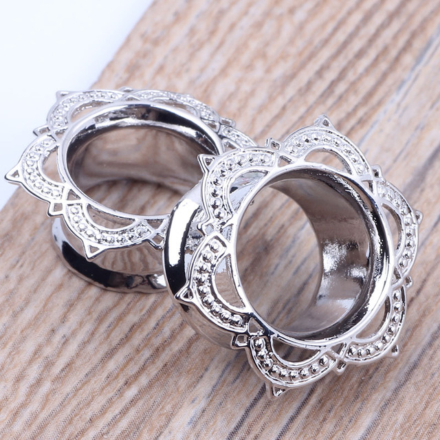 1 Pair Copper Ear Gauges Silver Color Ear Tunnels