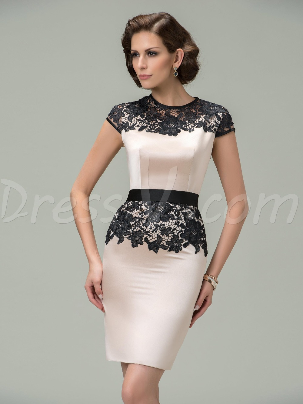 vintage short bodycon sexy cocktail dresses hot sale o neck lace