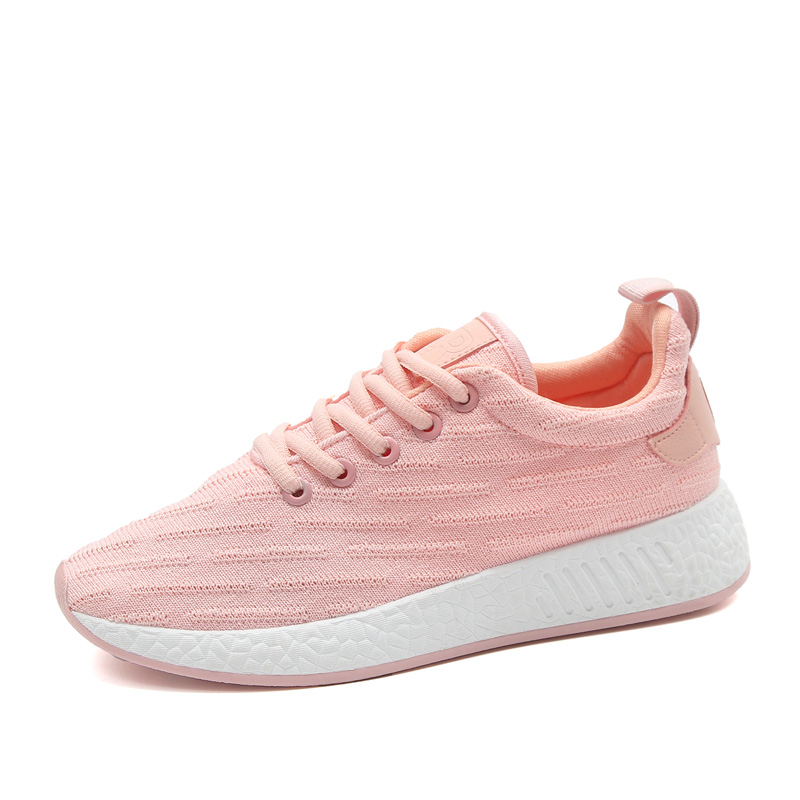 Women shoes autumn winter knit sneakers breathable soft solid zapatos mujer non-slip loafer air lace chaussure tenis feminino