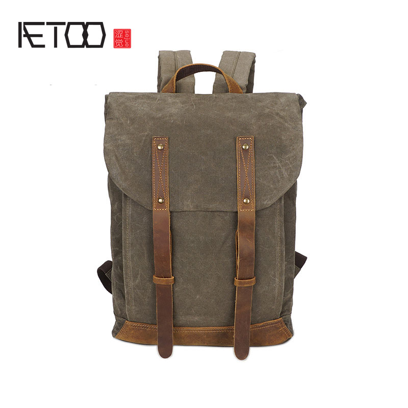AETOO Canvas shoulder bag retro backpack waterproof casual travel male bag college wind backpack tide package men