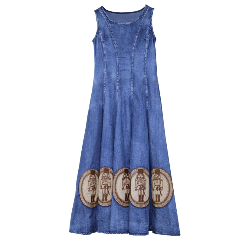 2019 Summer New Round Neck Casual Long Dress Embroidered Denim Dress Sleeveless Female Dresses
