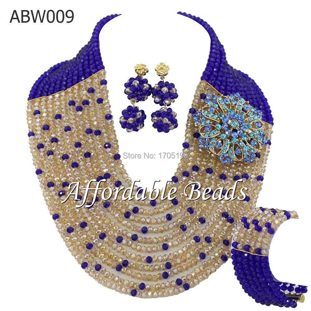Ensemble de bijoux de perles africaines bleu Royal et or ensemble de perles africaines de mode ABW009Ensemble de bijoux de perles africaines bleu Royal et or ensemble de perles africaines de mode ABW009