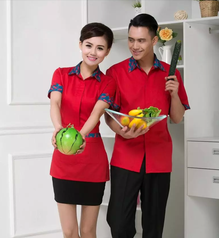 Hotel Uniform Summer Female Restaurant Waiter Work Wear Short Sleeved Clothing Dress Shirt Hot Pot Shop with Apron