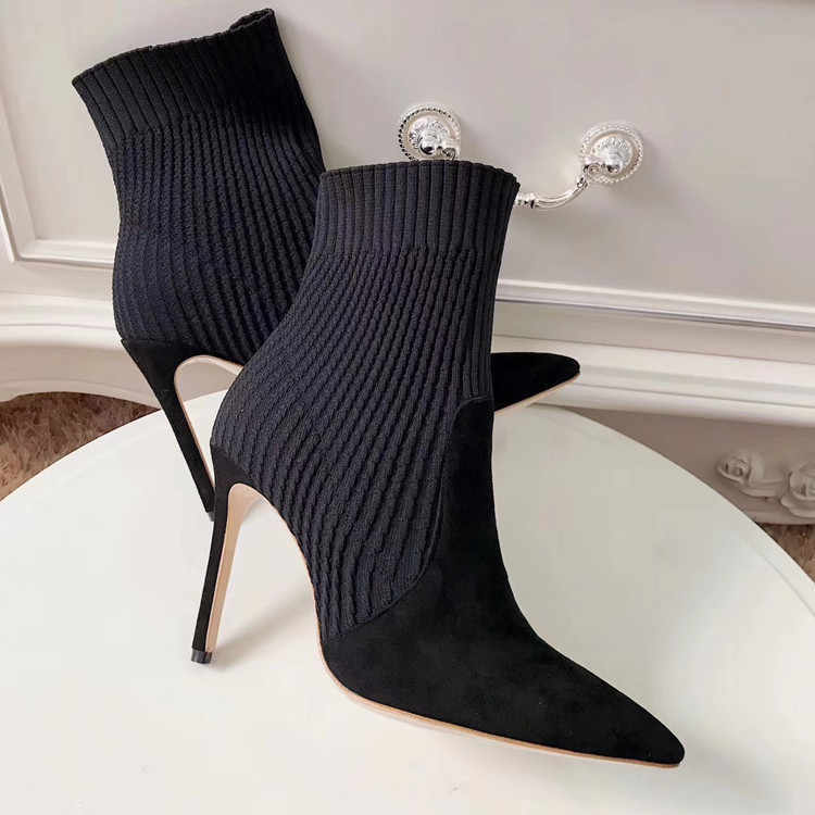 Seksi hakiki deri yüksek kısa çizmeler ile keskin ince bölünmüş elastik yün kadın yarım çizmeler