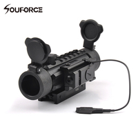 Tactical Riflescope 1X30 Optical Sight Green Red Reticle With Red Dot Laser Sight Of 20mm Mount