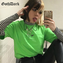Goth Dark Neon Green Aesthetic Grunge Gothic T-shrits Harajuku Punk Loose Autumn Fashion 2019 Print Tshirt Streetwear Casual