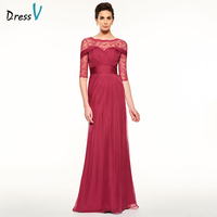 Dressv Red Long Mother Of The Bride Dress A Line Half Sleeves Lace Pleats Draped Scoop