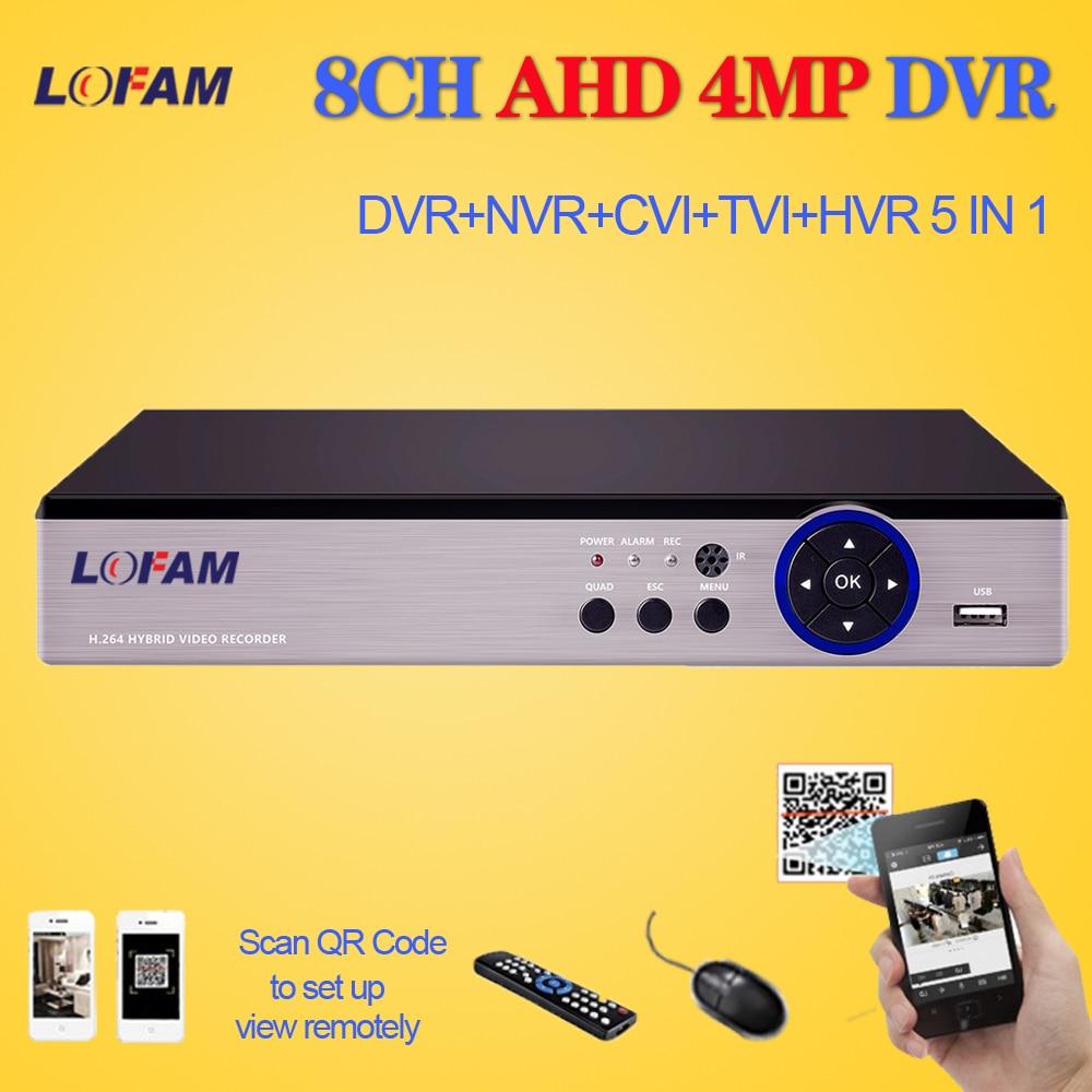 LOFAM 4MP 8CH AHD DVR NVR XVR CVI TVI 5 In 1 Hybrid CCTV DVR Security