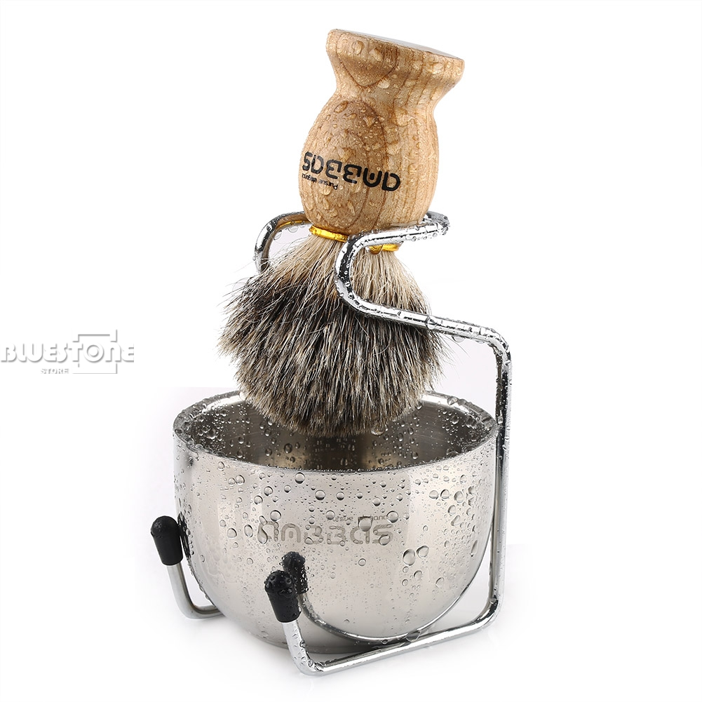 Anbbas Badger Hair Shaving Brush + Stainless Steel Shave Brush Stand And Bowl