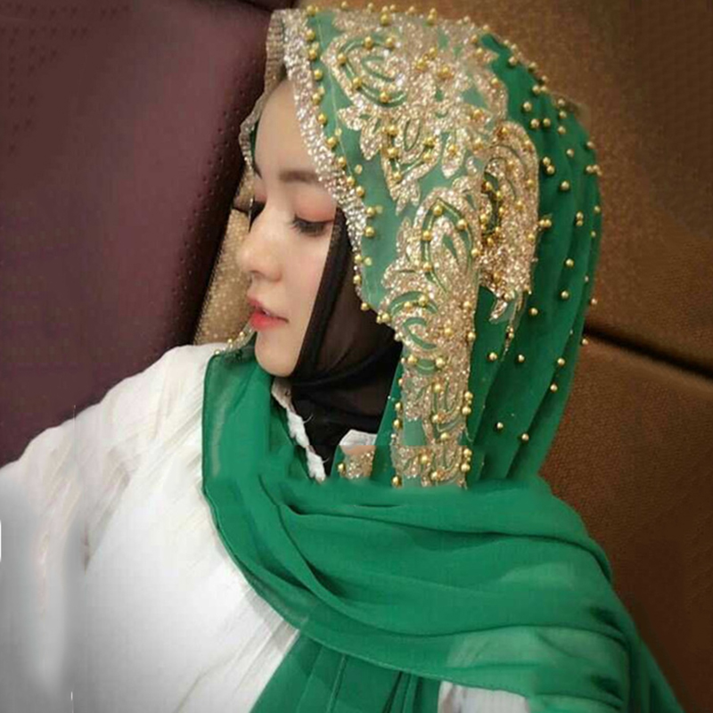 Islamic Scarf Hijabs Bead Moslima Prayer Turbante Woman for Long Solid-Color