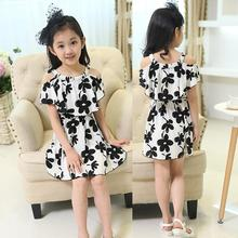 2018 Summer New Children Clothing Dress Little Girls Fashion Strapless Chiffon Black White Flower Elastic Waist Princess Dresses