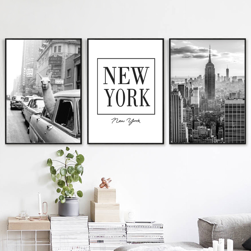 HTB1GmhTd8Cw3KVjSZFlq6AJkFXaH Llama in a taxi on Times Square Canvas Print and Poster Vintage llama Print New York City Photo Picture Wall Art Home Decor