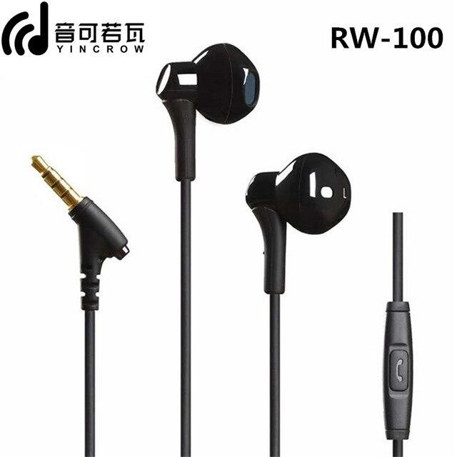 YINCROW RW 100 HiFi סופר בס אוזניות עם מיקרופון חצי ב אוזן אוזניות Wired 3.5MM אוזניות RW919 RW777 X6 p1 DT6 PT15 PT25 MS16