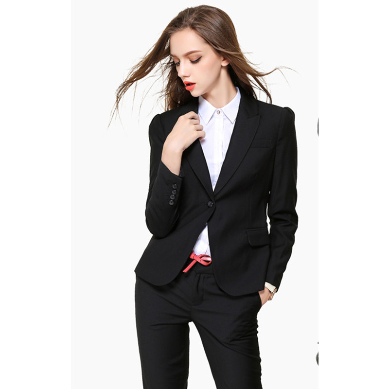 New Arival Women Pant Suits High Quality Sexy Womens Business Suits Custom made Black OL Formal Suits Jacket+Pants