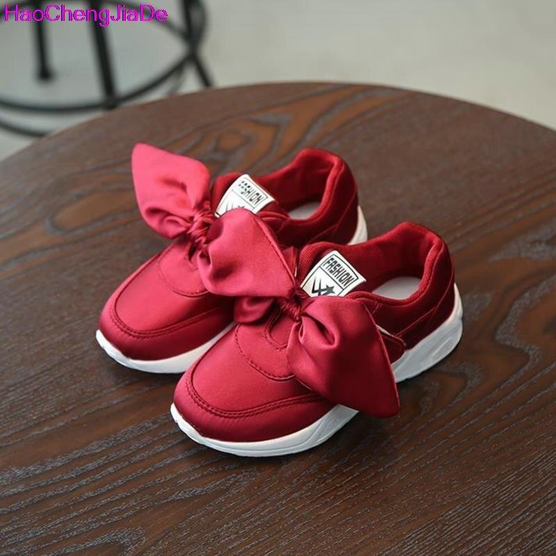 HaoChengJiaDe Kids Girls Shoes With Bow Fashion Sneaker Children Baby Girl Casual Sport Shoes Princess Cute