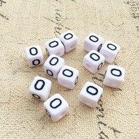 Black Initial O Printing White Square Acrylic Letter Beads 100PCS 10 10MM Cube Alphabet Plastic Knit