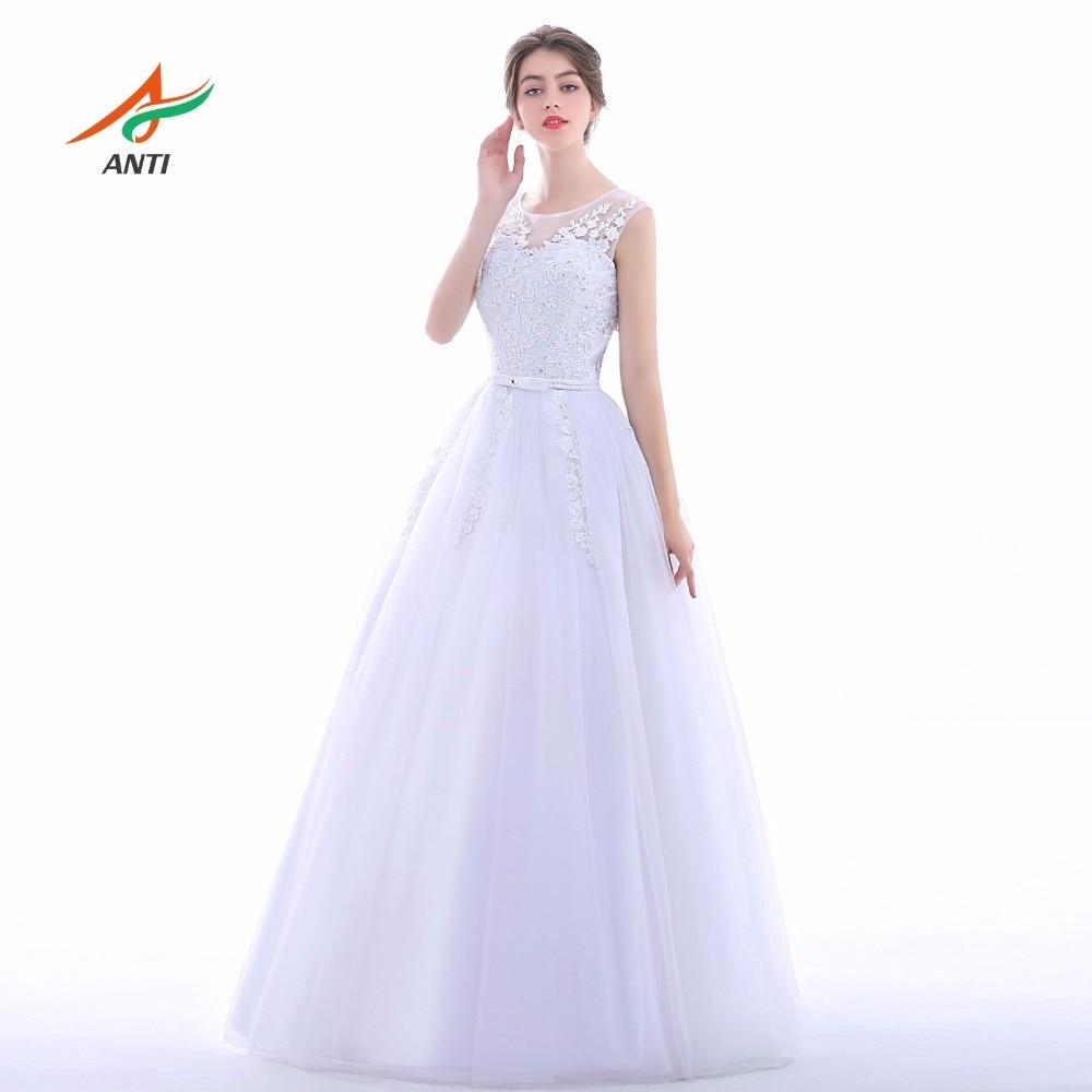 ANTI Elegante 2017 A-lijn Trouwjurk O-hals Mouwloze Robe De Mariage - Trouwjurken - Foto 3