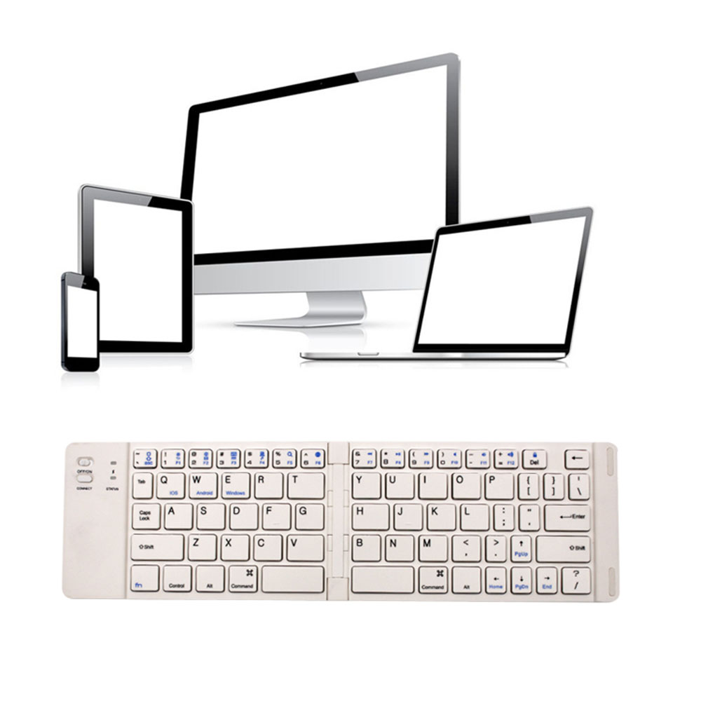 AMZDEAL Bluetooth 3.0 Keyboard Foldable Notebook Keypad Portable Gaming Laptops Universal Supplies for Windows IOS Android