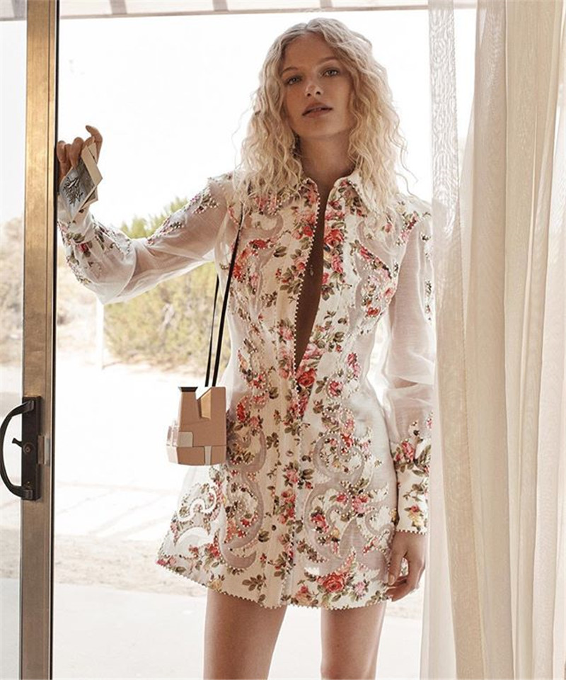 2019 Autumn new arrive full sleeve floral embroidery women mini dress high quality-in Dresses from Women's Clothing    1
