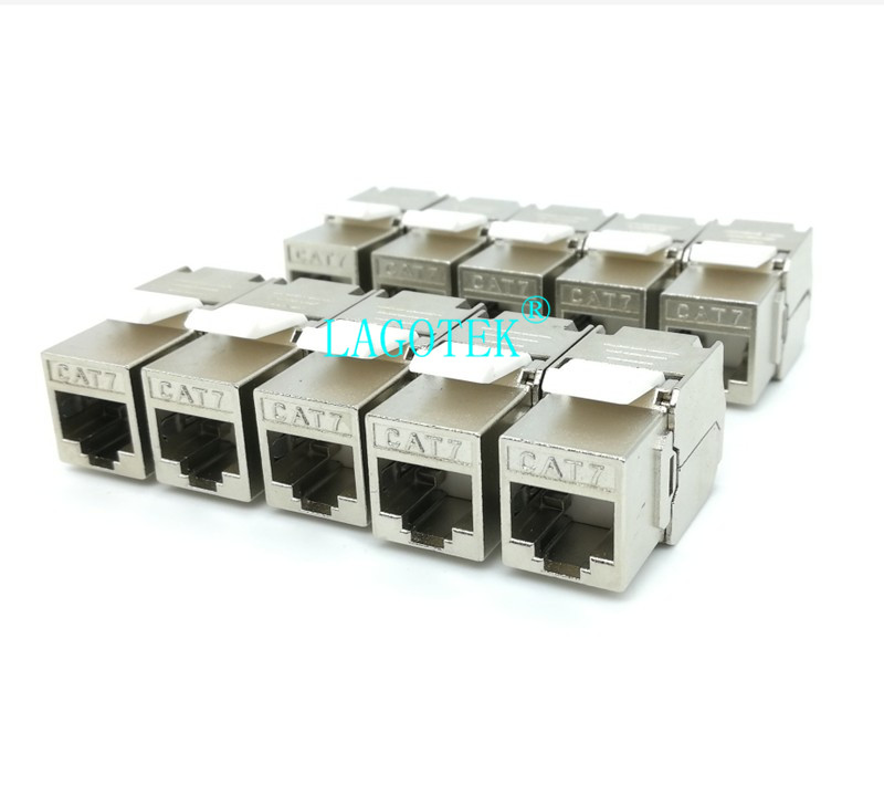 10PCS/lot RJ45 Keystone Cat7 Cat6A Shielded FTP Zinc Alloy Module 10GB Network Keystone Jack Connector Adapter Cat7 Rj45