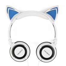 Foldable Flashing Cat Ear Headphones Gaming Headset Auriculares Music Earphone With LED Light For iPhone Xiaomi Mobile Phone PC