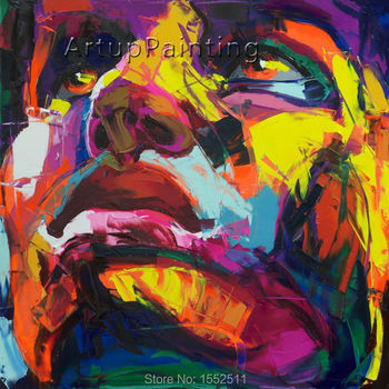Palette knife painting portrait Palette knife Face Oil painting Impasto figure on canvas Hand painted Francoise Nielly 14-42