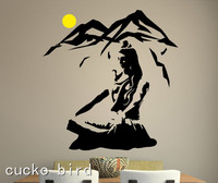Free Shipping Lord Shiva Wall Sticker Yoga Lotus Pose Vinyl Wall Decal Mountain Meditation Home Decoration