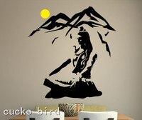 Gratis Verzending Lord Shiva Muursticker Yoga Lotus Pose Vinyl Muurtattoo Mountain Meditatie Woondecoratie Hindoe-god Art Mural