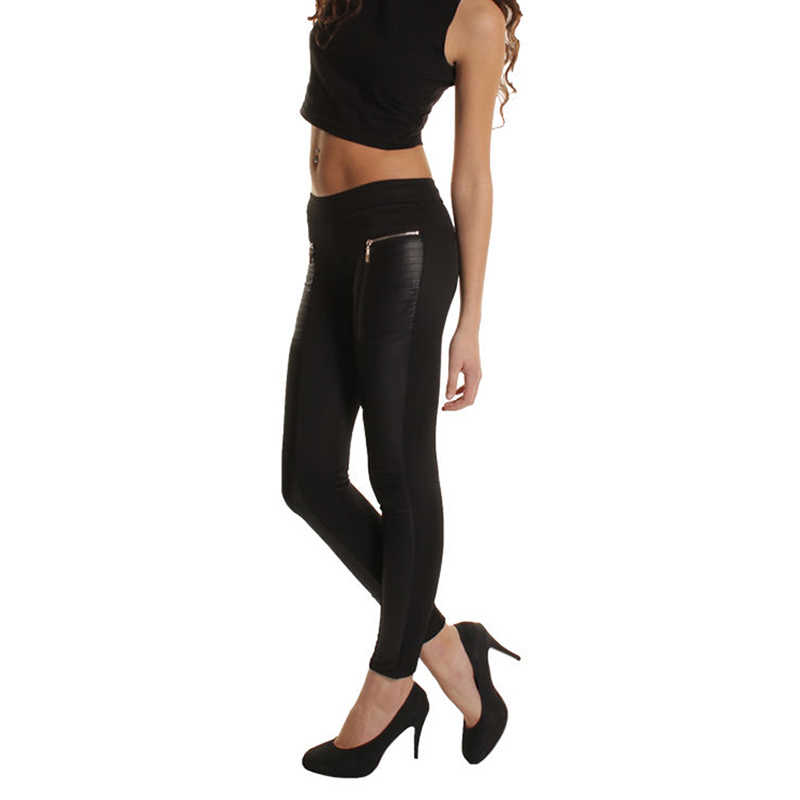 Сезон весна-лето-осень; модные стильные женские пикантные ботинки из искусственной кожи высокого качества; брюки; обтягивающие Лоскутные легинсы с молнией; Цвет Черный
