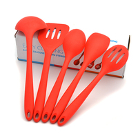 5pcs/set Kitchen Cooking Utensil Set Food Grade Silicone Heat Resistant Cooking Tools Including Spoon Turner Spatula Soup Ladle